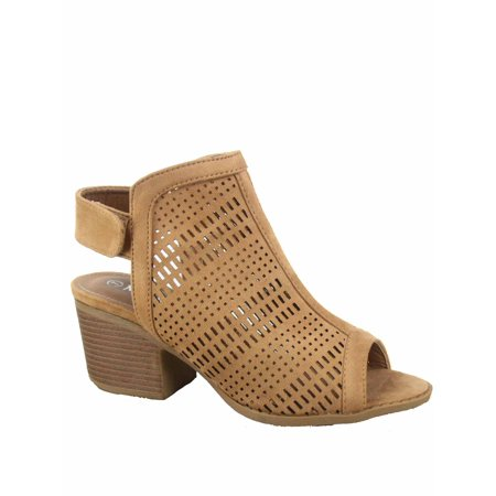 b87cab15f92 Nature Breeze - Addie-02 Women s Peep Open Toe Perforated Slingback Chunky  Heel Sandals Booties Shoes - Walmart.com