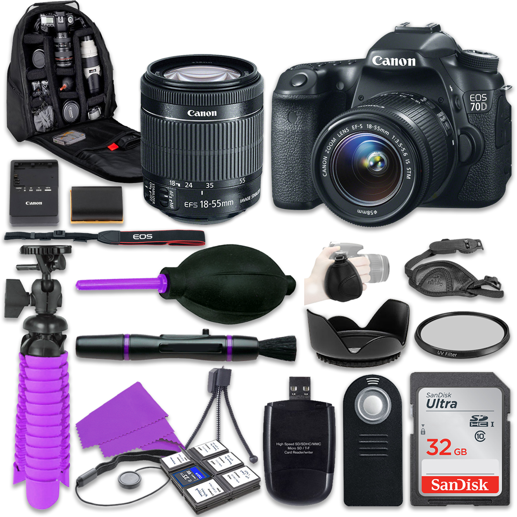 Canon 70D EOS DSLR Camera with Canon 18-55mm IS STM Lens,...