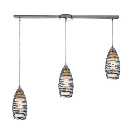 Pendants 3 Light With Polished Chrome Finish Vine Wrap Glass Medium Base 36 inches 225 Watts - World of Lamp