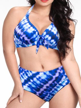 Plus Size Women Halter Push up Bikini Set Bow Swimwear Swimsuit Beachwear Summer