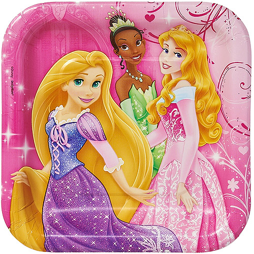 "Disney Princess 7"" Square Plates, 8 Count, Party Supplies"