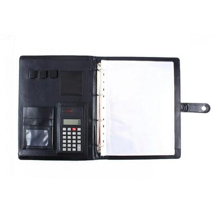 Knifun A4 Conference Folder Portfolio Ring Binder Organiser Calculator Leather US Stock,Leather Conference Folder (Ring Binder Folder)