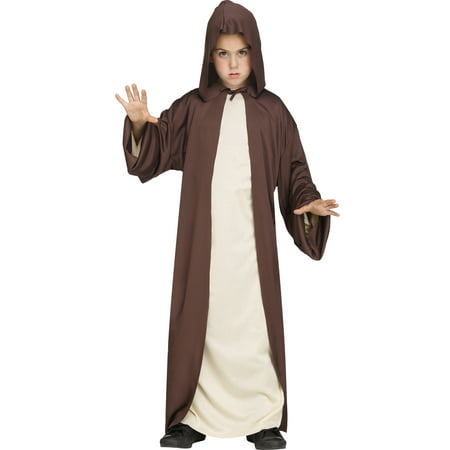 Hooded Robe Childs Jedi Sith Priest Monk Cloak Halloween Costume (Priest Halloween Costume)
