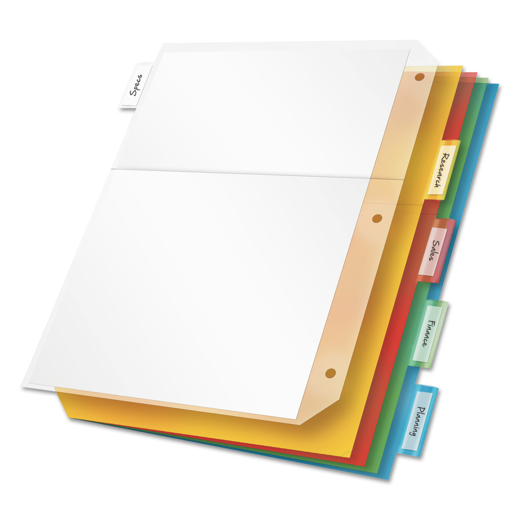 Cardinal Poly Ring Binder Pockets, 11 x 8 1/2, Letter, Assorted Colors, 5/Pack