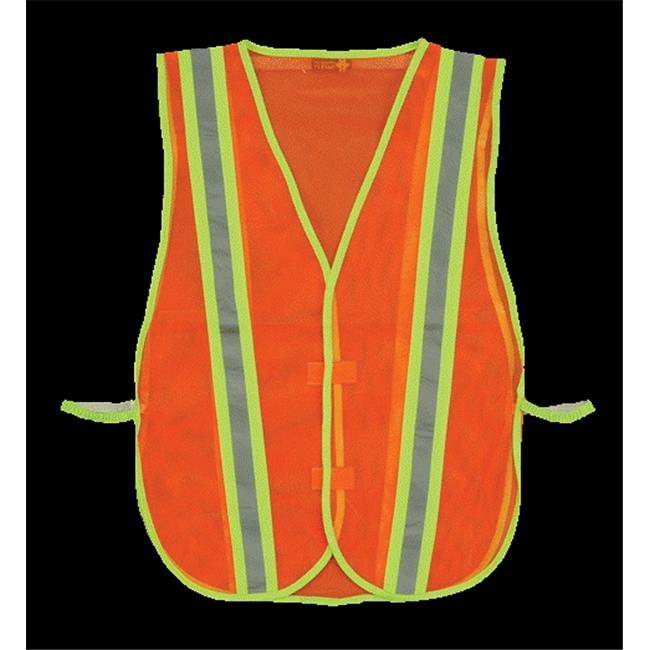 2W 8018B Economy Mesh Safety Vest Trim Stripe - Orange