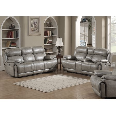 Estella Collection Contemporary 2-Piece Upholstered Leather Living Room Set  with a Recliner Sofa and Loveseat with Storage Console and Cup Holders, ...