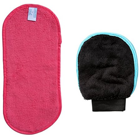 PINK CHEM FREE Makeup Remover Set - Facial Cleansing Cloth & Exfoliation Glove - Chemical Free -...