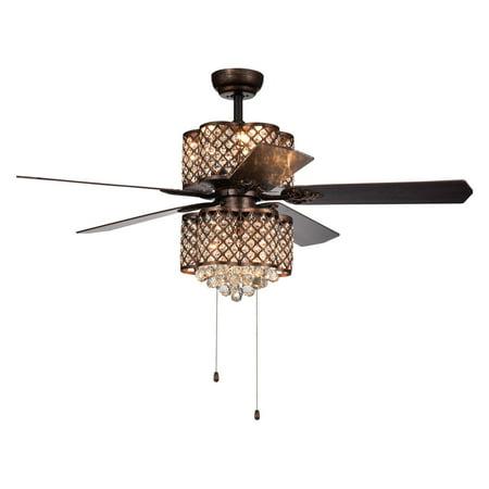 Quincy 6-light Crystal 5-blade 52-inch Rustic Bronze Ceiling Fan ()