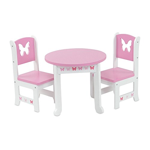 18 Inch Doll Furniture | Lovely Pink and White Table and 2 Chair Dining Room Set with... by Emily Rose Doll Clothes