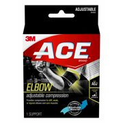 ACE Brand Compression Elbow Support, Adjustable Brace, Black/Gray