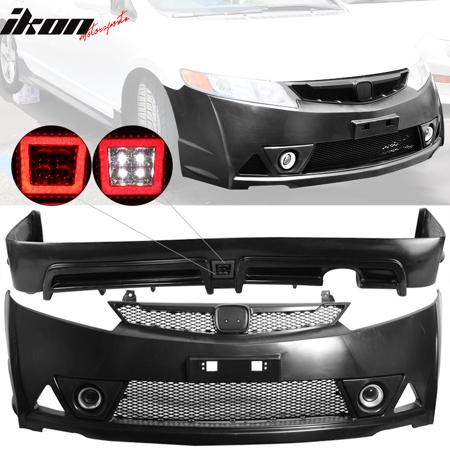 Compatible with 06-11 Honda Civic Mugen RR Style Front Bumper + Rear Lip w/ LED (Honda Civic Mugen Rr For Sale In Japan)
