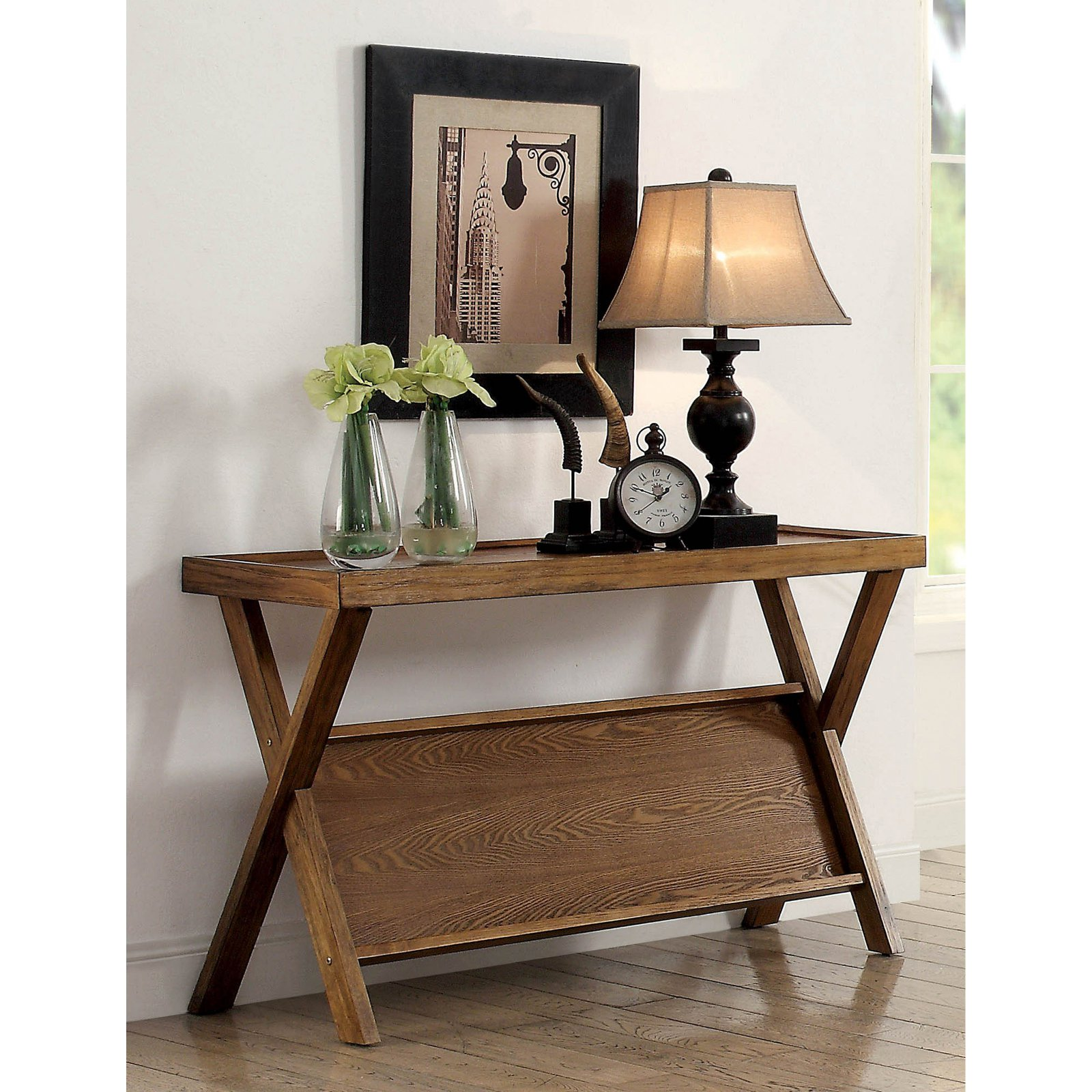 Furniture of America Catalina Rustic Angled Shelf Console Table