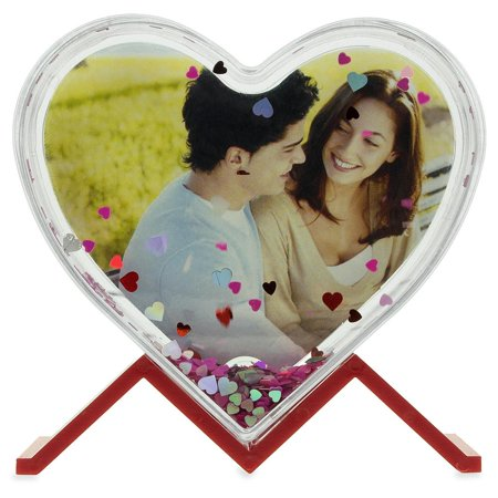 Glitter Water Globe Heart Shaped Picture Frame with Stand 3.9 (D & G Frames)