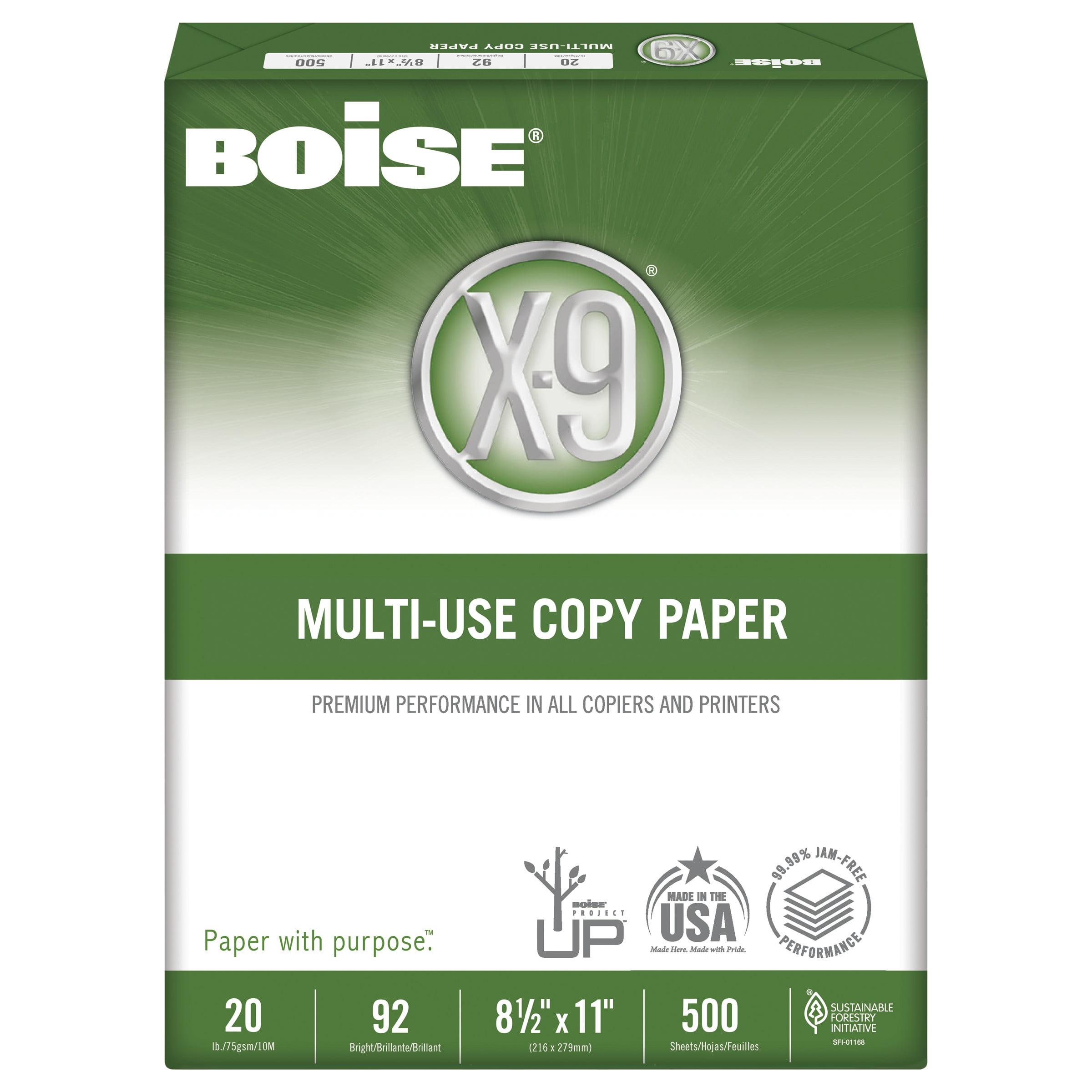 """Boise X-9 Copy Paper, 92 Brightness, 20 lb, 8-1/2"""" x11"""", White, 2500 Sheets/Carton"""
