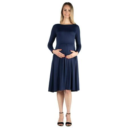 4e1ec30b371cc3 24/7 Comfort Apparel - 24seven Comfort Apparel Long Sleeve Fit and Flare  Maternity Midi Dress - Walmart.com