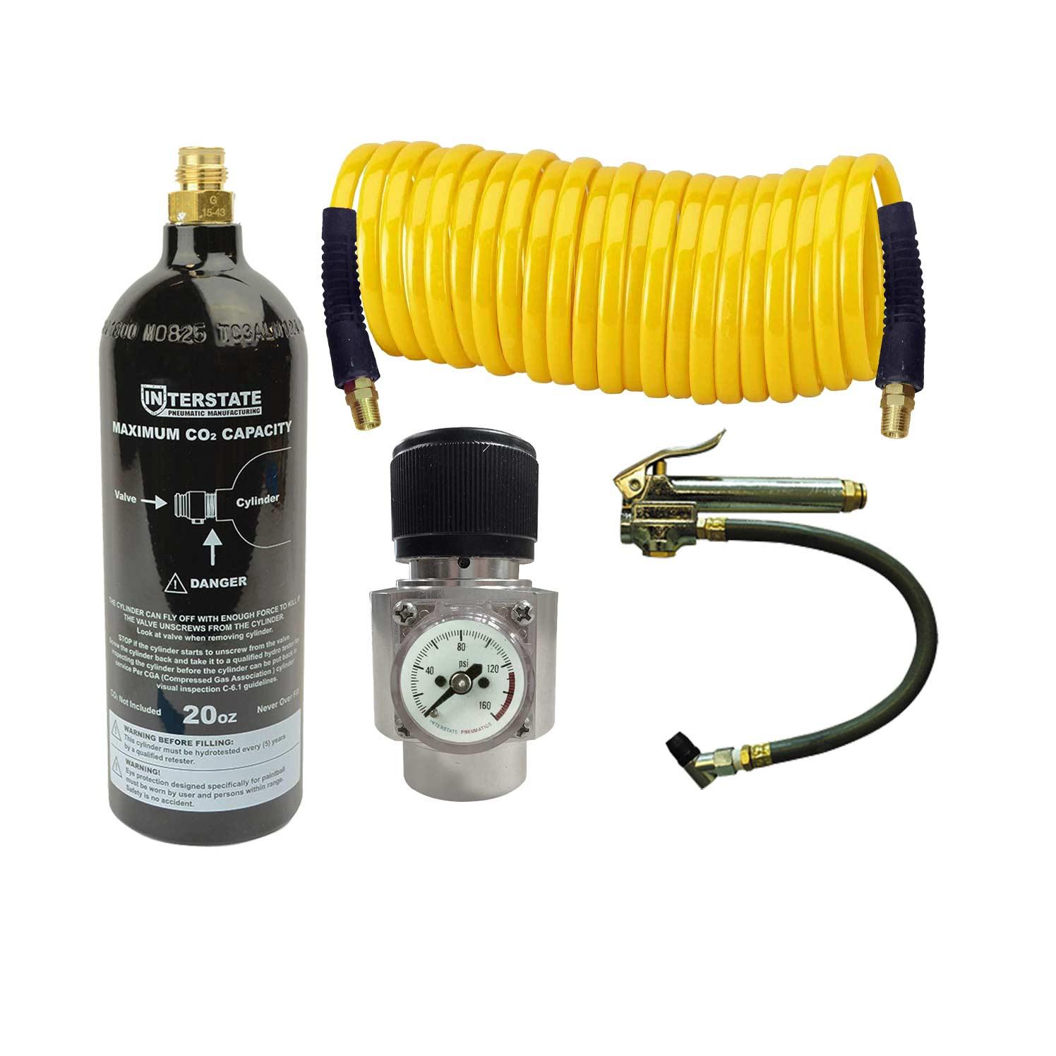 Interstate PneumaticsWRCO2-TF2CO2 Regulator, Recoil Hose, TF3135 Tire Inflator & 20 oz Co2 Cylinder