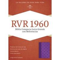 RVR 1960 Biblia Compacta Letra Grande con Referencias, violeta con plateado smil piel