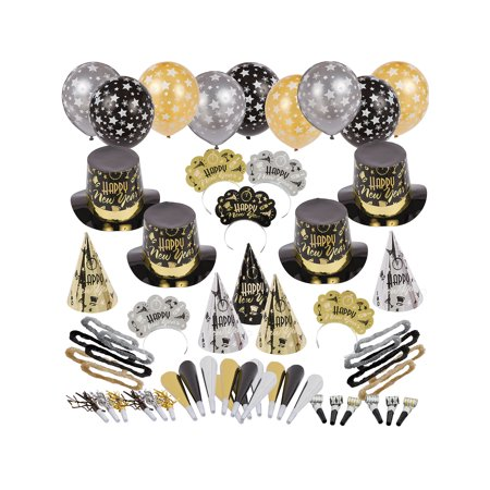 Black Tie Affair New Year's Kit for 100, Includes Cone and Top Hats, - Top Hats And Tiaras