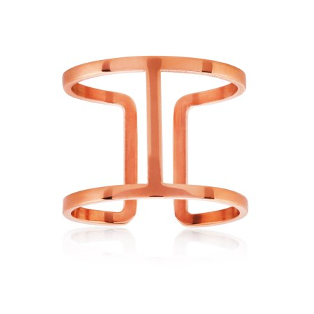 Rose Gold Plated Geometric Stainless Steel Open Ring (15mm)
