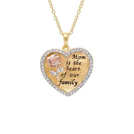 "Sterling Silver and 18K Gold Plate Crystal Border ""Mom Is The Heart Of Our Family"" Heart Pendant, 18"" Necklace"