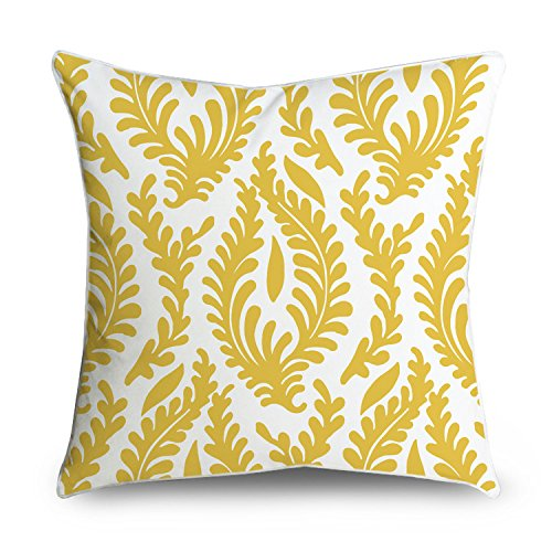 Tayyakoushi Yellow Floral Cotton Canvas Damask Decorative Throw Pillow Case  Cover For Sofa Or Living Room