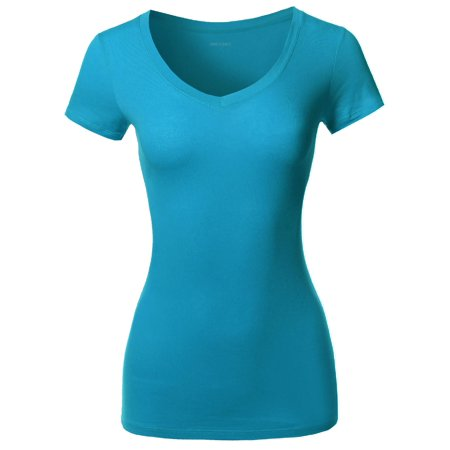 - FashionOutfit Women's Solid Basic Various Colors V-Neck Short Sleeves Top
