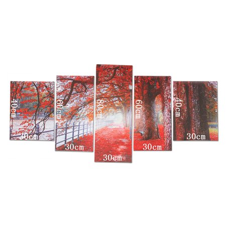 5Pcs Modern Abstract Wall Art Canvas Red Maple Tree Leaves Oil Painting Picture Print Decor NO FRAME - image 6 of 9