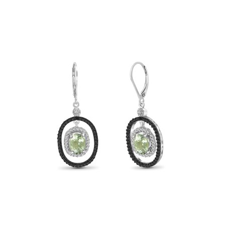 Light Amethyst Stones (2.60 Carat Green Amethyst Gemstone and Accent White Diamond Earring)