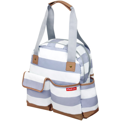 iPack Bowling Diaper Bag, White/Gray
