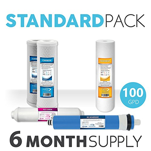 """Express Water Reverse Osmosis RO Replacement Filters Set Universal Standard 10"""" Carbon Inline Sediment Coconut Shell 100 GPD Membrane"""