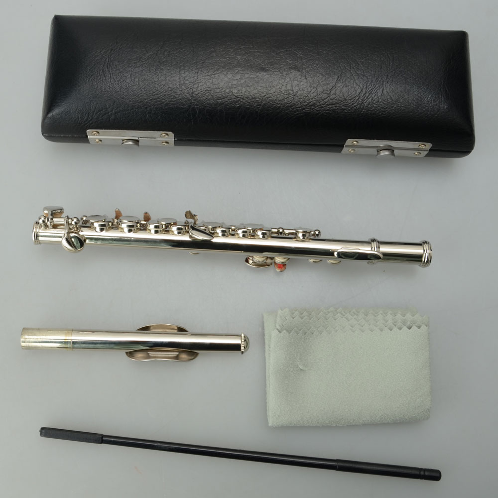 Zimtown Professional Piccolo Silver Key of C School Band with Case for Student