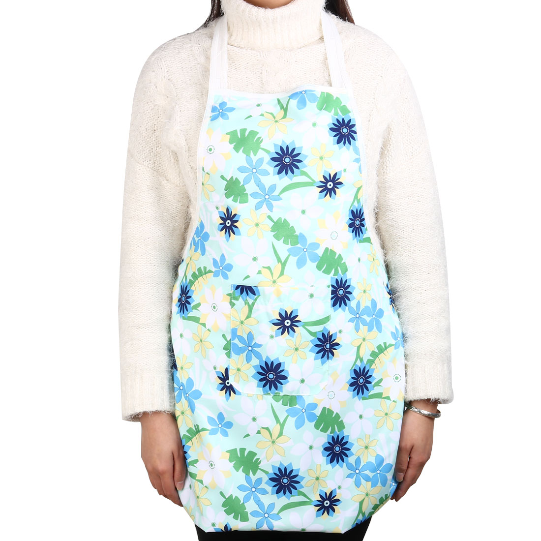 Home Kitchen Polyester Flower Pattern Front Patch Pocket Cooking Baking Apron