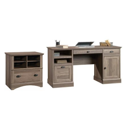 Barrister Lane 2 Piece Executive Desk and Lateral File Cabinet Set in Salt (Manor Executive Lateral File)