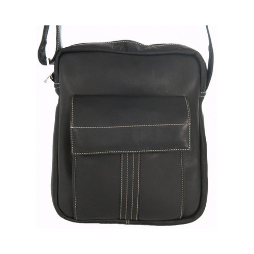 David King & Co. Deluxe Medium Size Messenger with Flap, Black, One Size