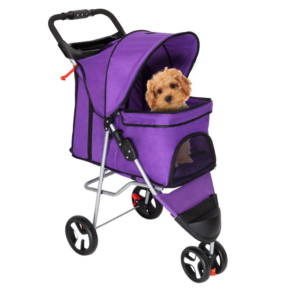 Zimtown 3 Wheeler Pet Stroller Cat/Dog Easy Walk Folding Travel Carrier Purple