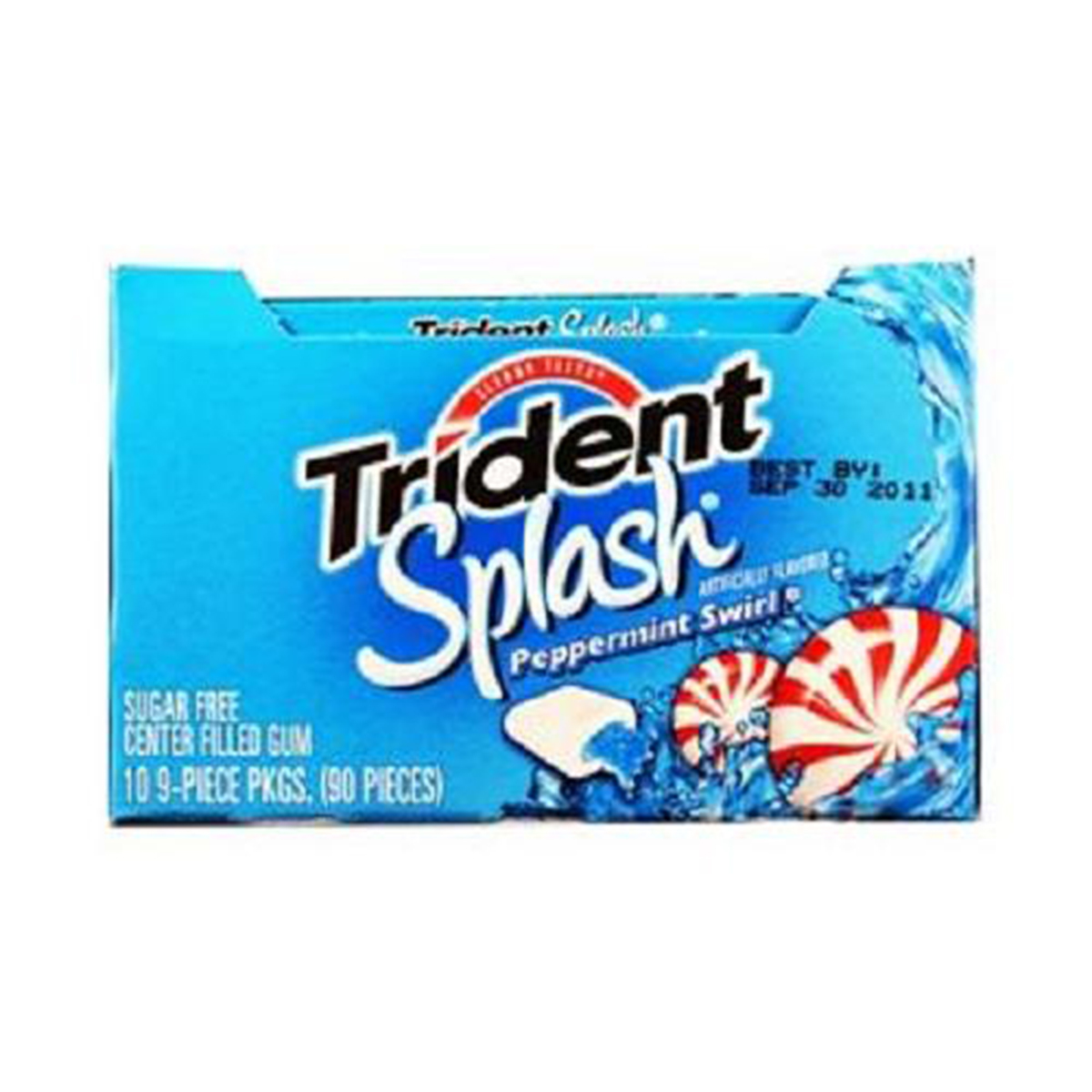 Trident Splash Sugar Free Gum (Peppermint Swirl, 9-Piece, 10-Pack)