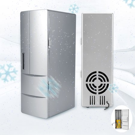YLSHRF Mini USB Fridge,Compact Mini USB Fridge Freezer Cans Drink Beer Cooler Warmer Travel Car Office Use, Cooler Warmer Fridge
