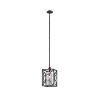 Mini Pendants 1 Light With Rust Black Finish Metal Glass Material 9 inch 60 Watts