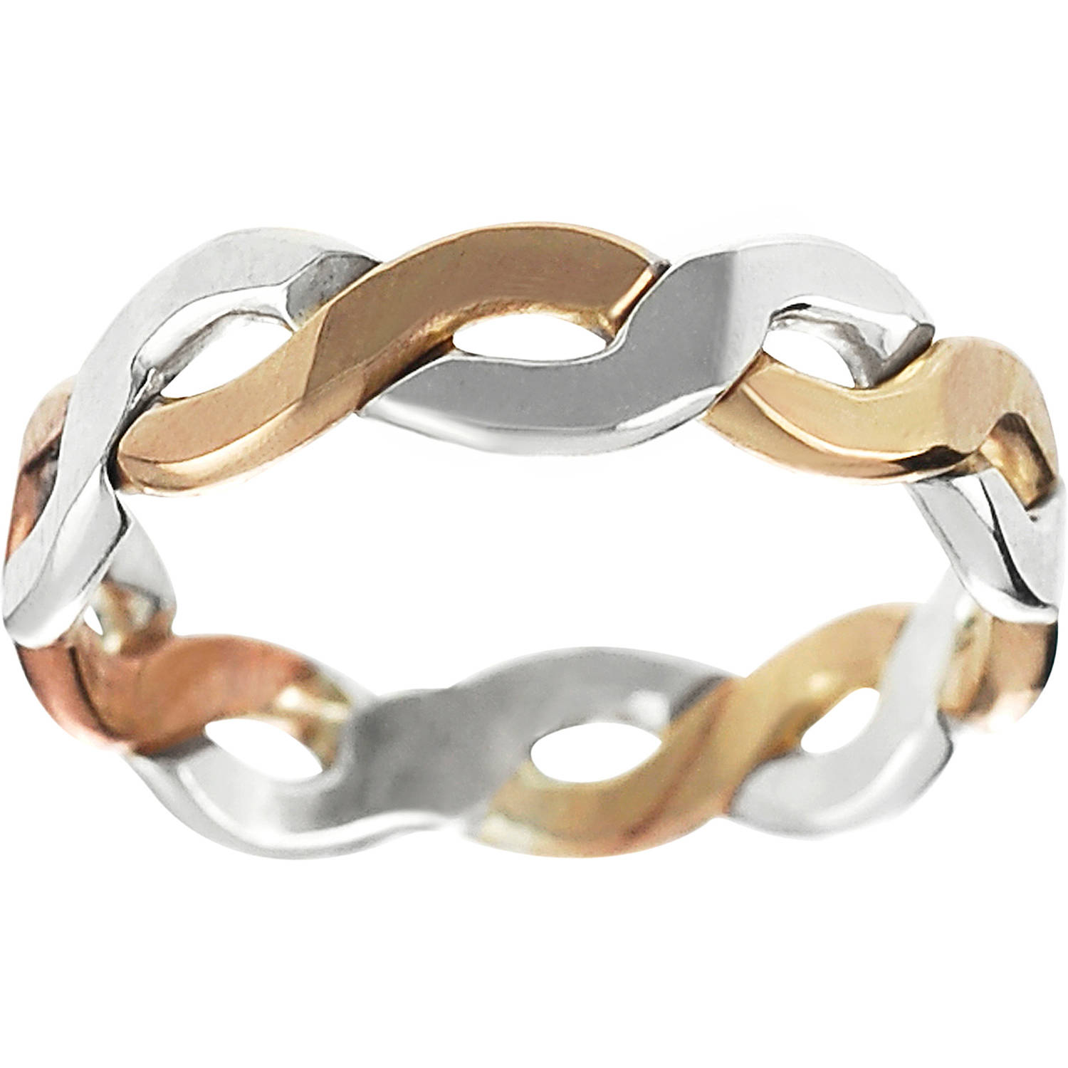Brinley Co. Women's Sterling Silver Two-Tone Braided Band, 4.5mm