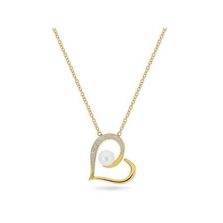 14KT Gold Diamond And Peart Sideways Heart Necklace 18 Inches 14k White Gold Diamond Heart Pendant