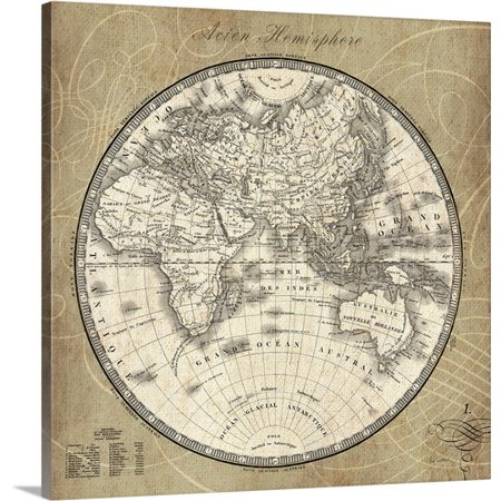 Great Big Canvas Sue Schlabach Premium Thick Wrap Canvas Entitled French World Map Ii