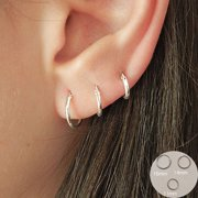 Set of 3 Pairs of Hoops Earrings in 925 Sterling Silver Thickness 1.2 mm Diamete