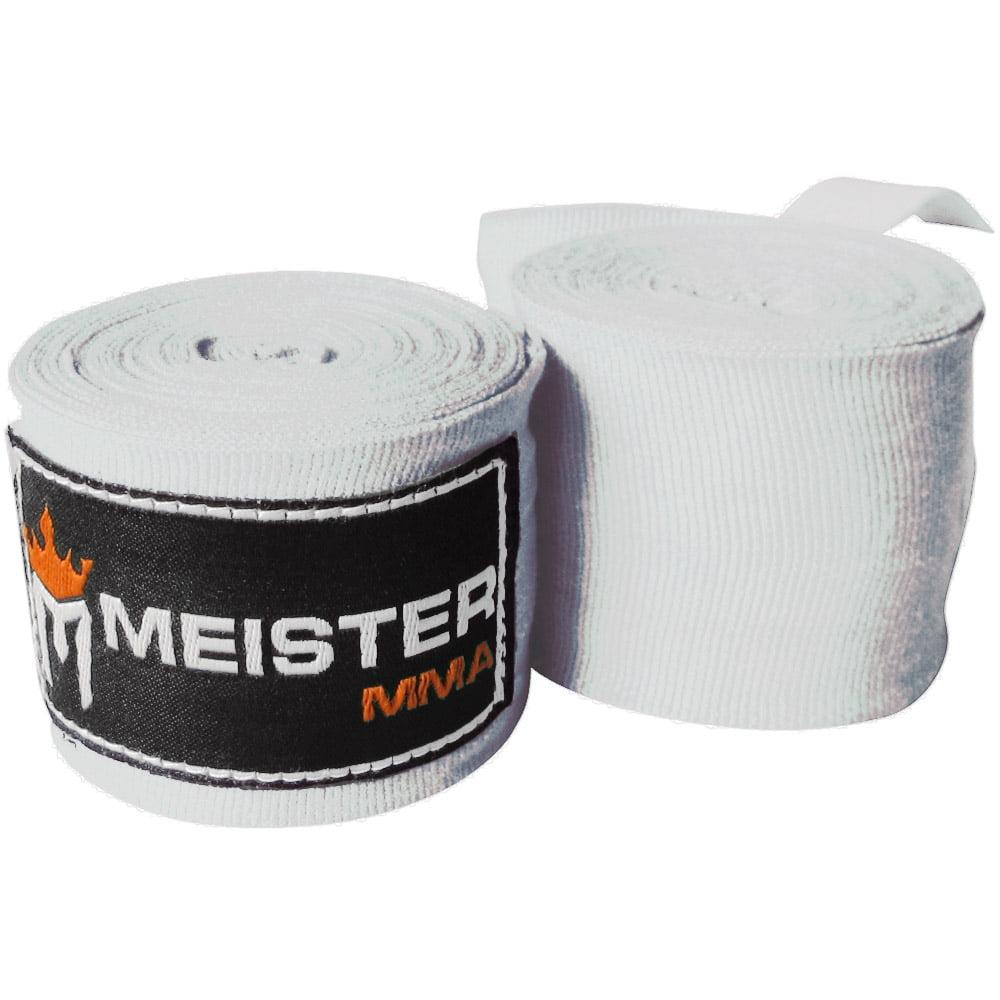 "Meister 180"" Semi-Elastic MMA Hand Wraps (Pair) - White"