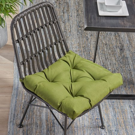Noble House Isaias Indoor Fabric Classic Tufted Chair Cushion, Olive Hand Tufted Olive Green