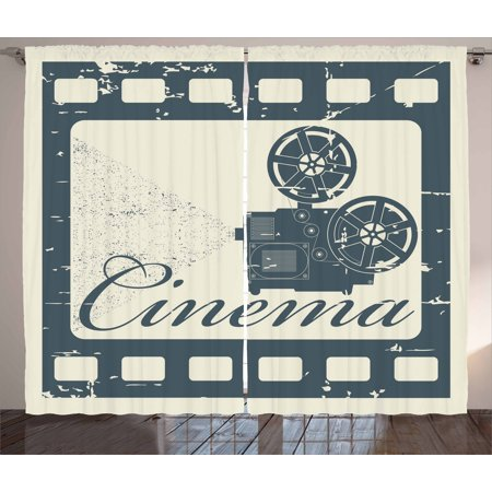 Movie Theater Curtains 2 Panels Set, Grunge Poster Design with Strip Frame Cinema Lettering and Projection, Window Drapes for Living Room Bedroom, 108W X 84L Inches, Slate Blue Beige, by Ambesonne