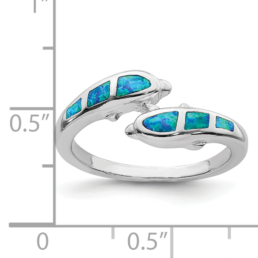 925 Sterling Silver Created Blue Opal Dolphins Band Ring Size 6.00 Sea Shell Life Fine Jewelry Gifts For Women For Her - image 1 de 2