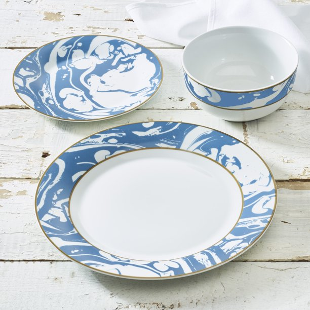 Marble Swirl Collection 12 Piece Porcelain Blue Dinnerware Set