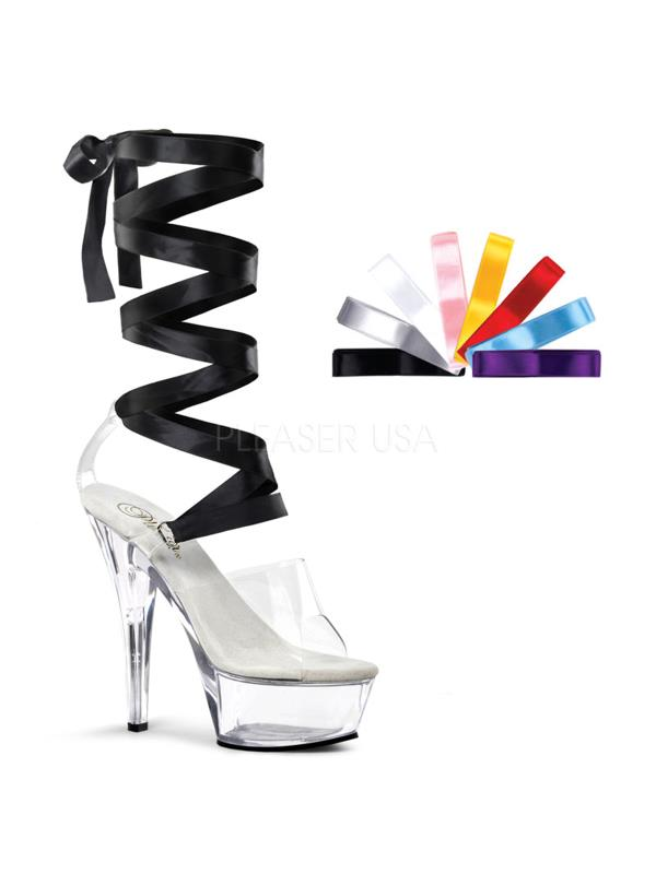 "KISS295/C/M Pleaser Platforms (Exotic Dancing) 6""-6 1/2"" Heel Shoes CLEAR Size:7"