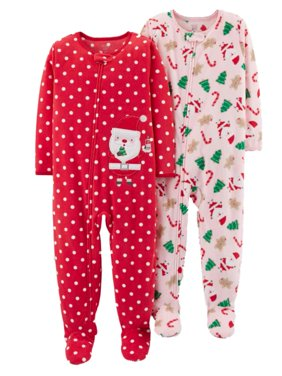 921775d726 Product Image Carters Infant Girls 2 Pack Fleece Santa Claus Christmas  Blanket Sleeper Pajamas
