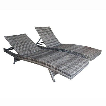 Aleko Adjustable Patio Wicker Lounge Chairs Gray